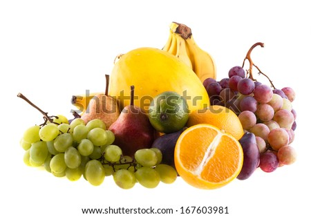 Pile of fruit on a white background - stock photo