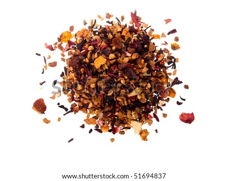 Pile of fruit tea with petals and dry fruit.