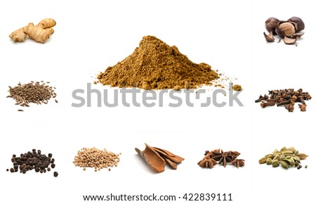Pile of Garam Masala and Ingredients: dry ginger, cumin seeds, black pepper, coriander, cinnamom, anise, cardamon, cloves, nutmeg on white background. Indian spice mix - stock photo