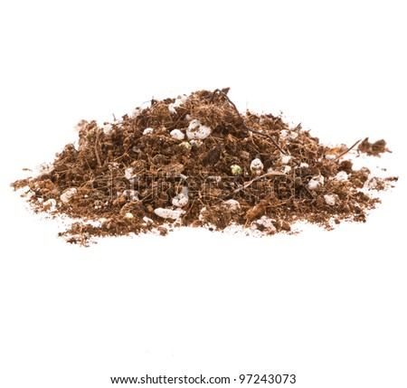 Pile of garden soil with fertilizer pellets on a white background - stock photo