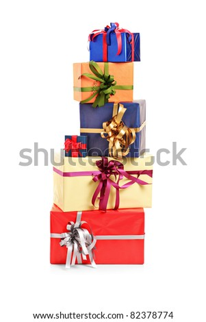 Pile of gift boxes of various colors isolated on white background - stock photo