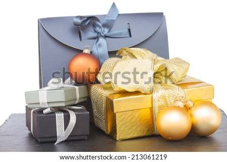 pile of  gift boxes with christmas decorations isolated om white background