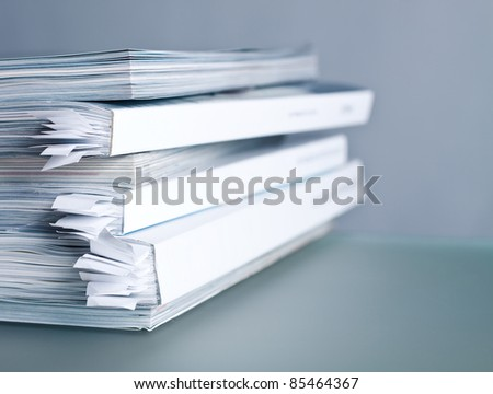 Pile of glossy magazines close up - stock photo