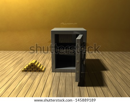 Pile of gold bars and a safe