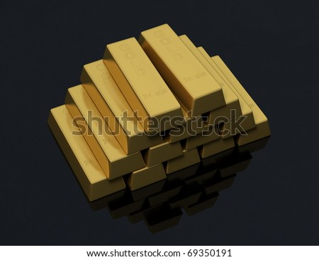 Pile of gold bars on a black background with a little reflection