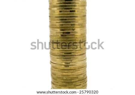 Pile of gold coins isolated on white