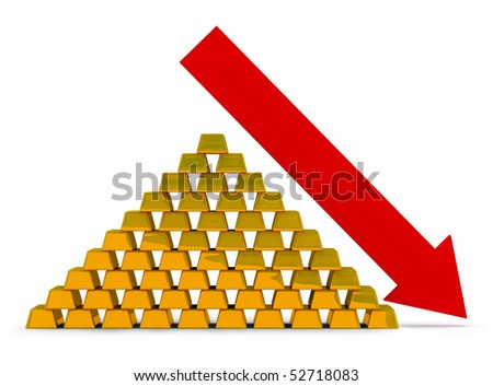 Pile of gold ingots with an arrow. Recession of the price for gold.