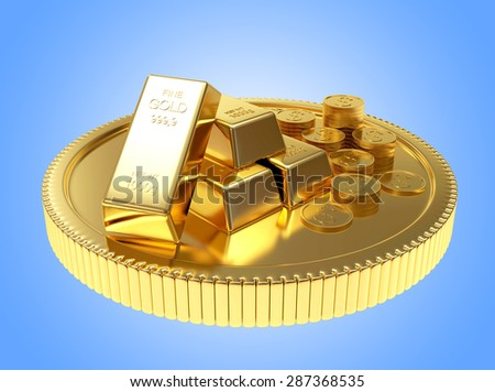 Pile of golden bars and coins on a large coin on blue background - stock photo
