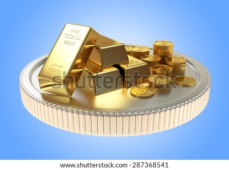 Pile of golden bars and coins on a large silver coin on blue background - stock photo
