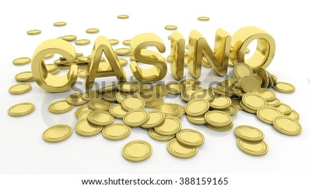 Pile of golden coins and word Casino, isolated on white background.