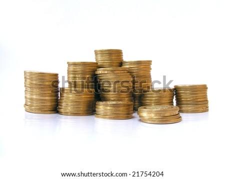 pile of golden coins, mexican pesos - stock photo