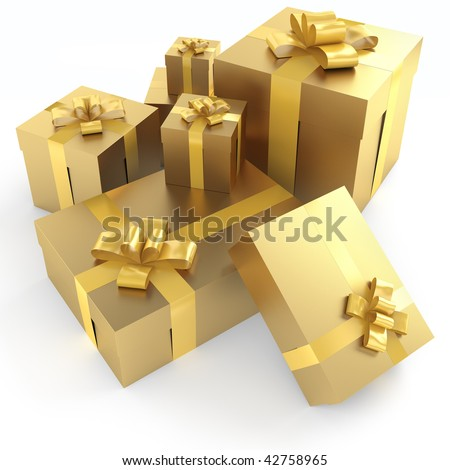Pile of golden gifts with ribbons isolated on white with clipping path - stock photo