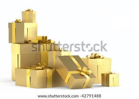 Pile of golden gifts with ribbons isolated on white with copy space to the right and clipping path - stock photo