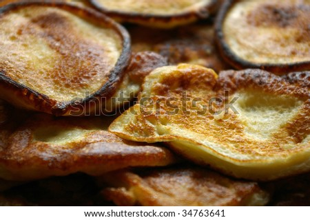 Pile of golden pancakes - stock photo