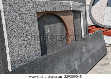 pile of granite texture -  raw marble layers design gray stone slab surface grain rock backdrop layout row industry construction - stock photo