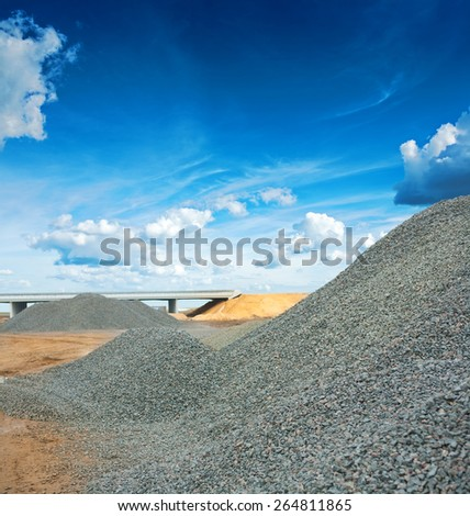 pile of gray granite gravel on construction site construction concept  - stock photo