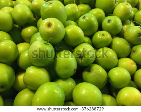 Pile of green apples, apples background - stock photo