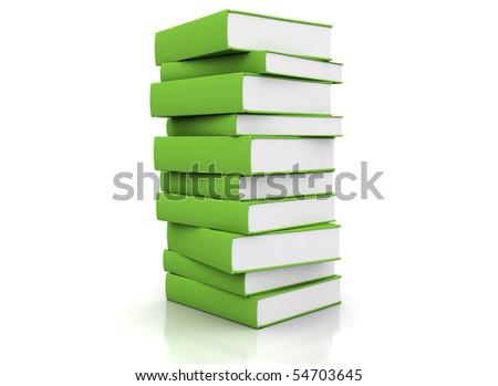 Pile of green books isolated on white - stock photo