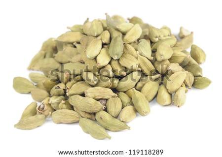 Pile of Green Cardamom (Cardamon) Pods Isolated on White Background - stock photo