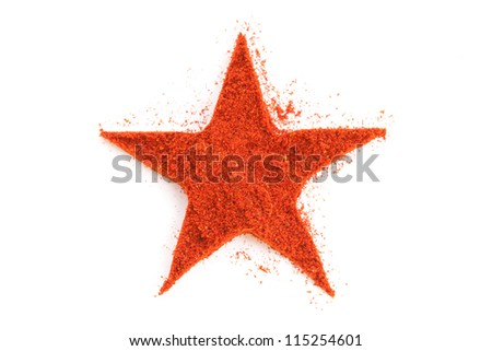 Pile of ground Paprika isolated in star shape on white background. Used to color rices, stews, and soups, meats. - stock photo