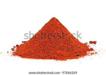 Pile of ground Paprika isolated on white background. Used to color rices, stews, and soups, meats. - stock photo