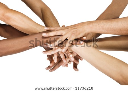 Pile of hands isolated on white, Caucasian, African American, Hispanic race. - stock photo