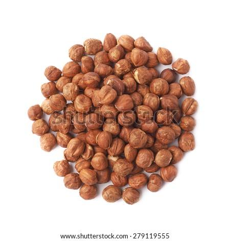Pile of hazelnuts isolated over the white background - stock photo