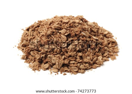 Pile of healthy granola, isolated on white background - stock photo