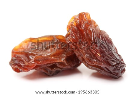 Pile of healthy raisins isolated on white background.  - stock photo