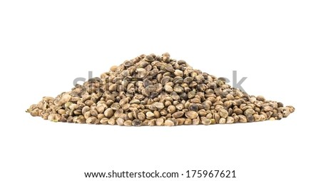 Pile of hemp seeds with large DOF isolated on white - stock photo