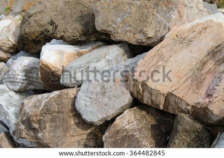Pile of huge stones - stock photo
