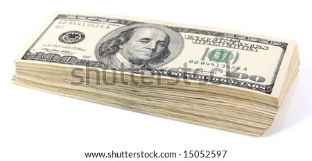 Pile of hundred dollar notes isolated on white