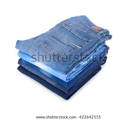 pile of jeans on a white background - stock photo