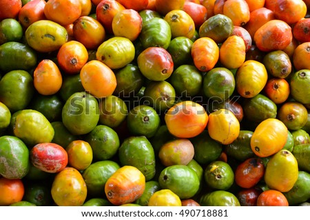 Pile of jocote fruits, aka mombin, hog plum and sineguela, sold at a local fresh market in San Jose, Costa Rica