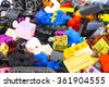 Pile of lego blocks - stock photo