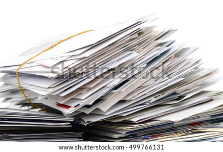 pile of letters isolated on white back ground