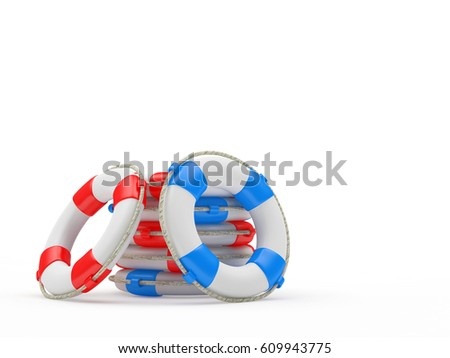 Pile of lifebuoys isolated on white background. 3d illustration