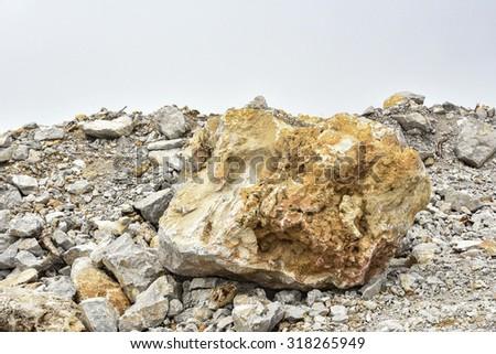 pile of limestone quarry - stock photo