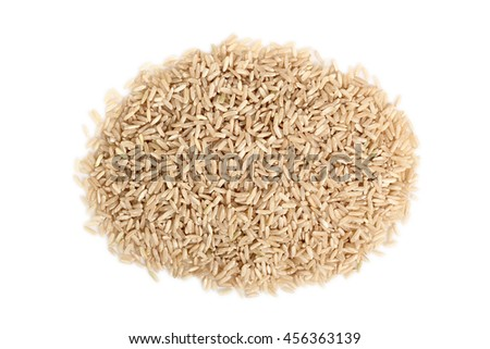 Pile of long grain brown rice. Isolated on white background. Directly Above.