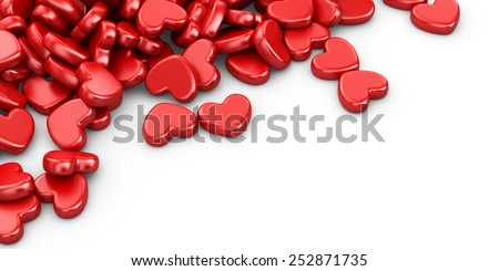 Pile of love hearts 3D. Valentine's day background, isolated - stock photo