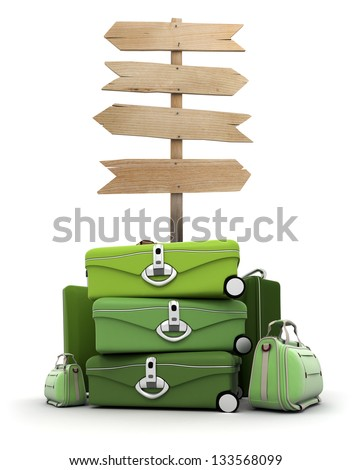 Pile of luggage by a wooden sign - stock photo