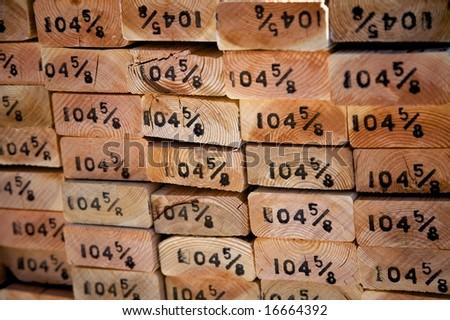 pile of lumber - stock photo