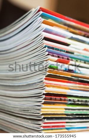 pile of magazines - stock photo