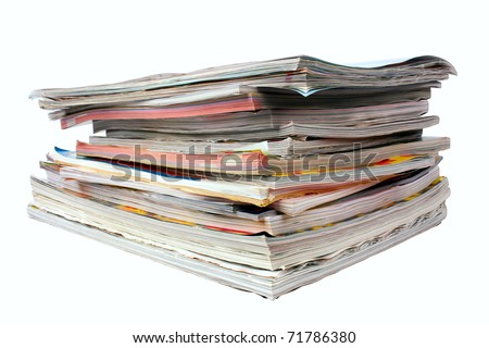 Pile of magazines isolated on white - stock photo