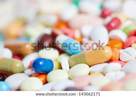 Pile of many colorful pills and medication