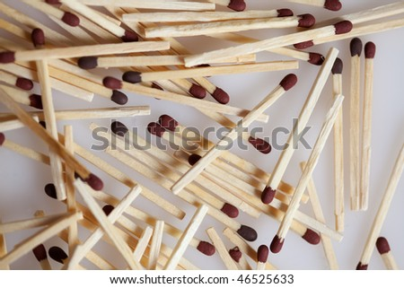 Pile of Matches on neutral background, closeup - stock photo