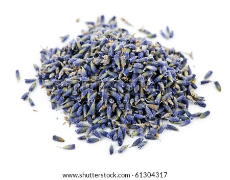 Pile of medicinal lavender herb flowers on white background - stock photo
