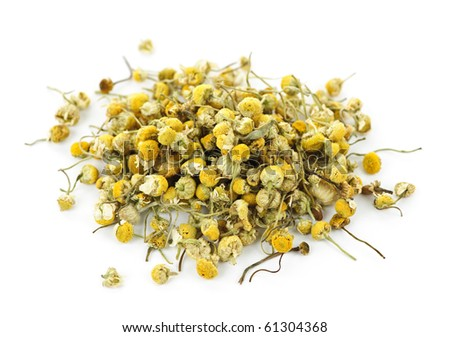 Pile of medicinal yellow chamomile herb buds on white background - stock photo