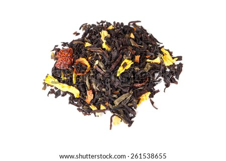 Pile of mixed black and green tea with dry rosehip berries, calendula, sunflower petals  isolated on white background, top view, selective focus - stock photo
