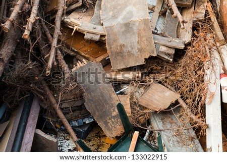 Pile of mixed garbage after a demolition project / renovation